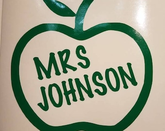 Teacher apple Decal for classroom- perm vinyl - perfect for Yeti & Rtic cups, teacher appreciation gifts, clipboards laptop etc. Decal only.