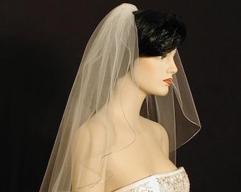 "22"" Past Shoulder Length Wedding Veil with Silver Pencil Edge"