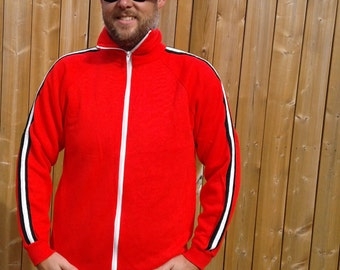 Beautiful and Soft 80's / 90's Bright Red / Long Sleeve / Black White Stripes / Zip Up Track Suit Sweatshirt / Made in USA / XL