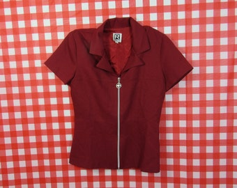90s Red Zip Up Top : Size 7