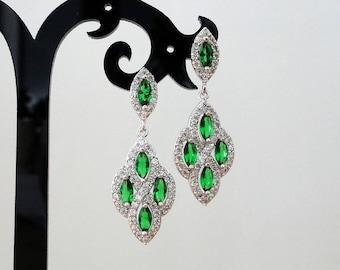 Wedding earrings emerald green earrings bridal wedding jewelry crystal bridal earrings mom wedding gift statement earrings mother of bride
