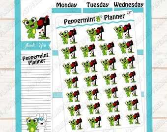 Lilly Pad checking her mail --- hand drawn  --- planner stickers ---237