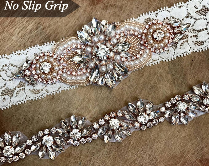 Crystal Rose Gold Ivory Wedding Garter Set NO SLIP grip vintage rhinestones
