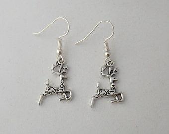 Christmas santa reindeer earrings, festive holiday earrings, sterling silver deer earrings, stocking filler gift
