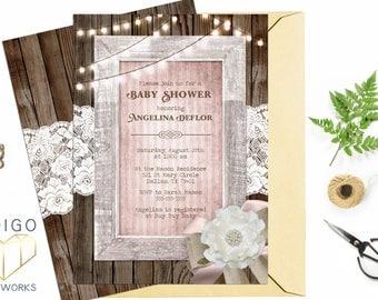 Girl Baby Shower Invitation, Rustic Wood Blush Pink String Lights Vintage Shabby Country Printable Custom Digital Invite File, Bridal Shower