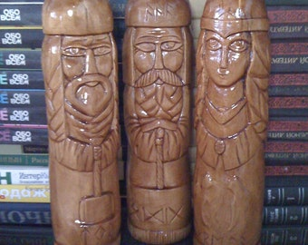 Handcarved Figurine of Odin, Thor and Freya from Linden Tree