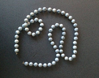"""Vintage Wood Bead Necklace - 30 """" - Blue and white"""