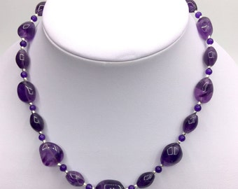 Natural Amethyst necklace with fine silver plated beads