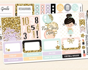 New Years Weekly Kit New Years Eve Planner Kit New Year Planner Sticker Kit New Year Planner Stickers Glitter Girl Fits  ECLP More