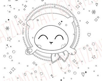 Valentine's Day COLORING PAGE Cute Kawaii Bear Love Be My Valentine Gift Instant Download Printable Colouring Pages illustrated by Jen Katz