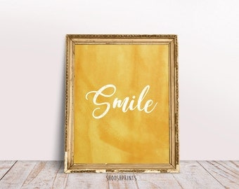 Smile, good vibes, Printable wall art, Inspirational print, Quote print, Typography print, quote wall art, watercolor art, Calligraphy quote