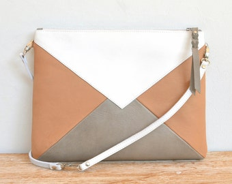 """""""WARNA wide"""" white, camel and gray leather clutch"""