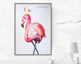 ORIGINAL Flamingo Painting - Flamingo Art Work, Flamingo Gifts, Wall Art Bedroom, Animal Art, Animal Painting, Original Art, Pink Painting