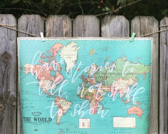 Custom Hand-Lettered World Map