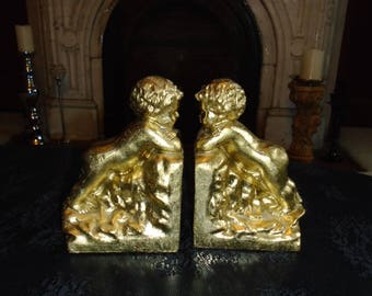 Pair of Gold heavy resin Cherub Bookends