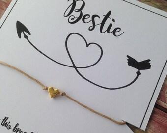 Wish Bracelet, Travel Bracelet, Star Bracelet, Bestie, Travel Gift, Heart Wish Bracelet, Friendship Bracelet, Heart Bracelet, Friend Gift