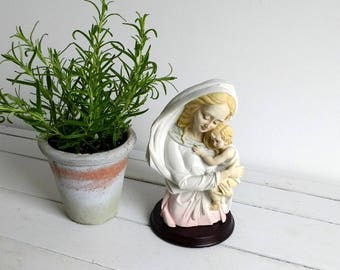 Beautiful old religious figurine 'Mary with baby jesus'