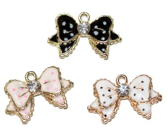 Charms Bow Charms Set Enamel Ribbon Jewelry Polka Dot Bow Charm Ribbon Bow Pendant with Rhinestones 3 Pieces Pink Black White with Gold Trim