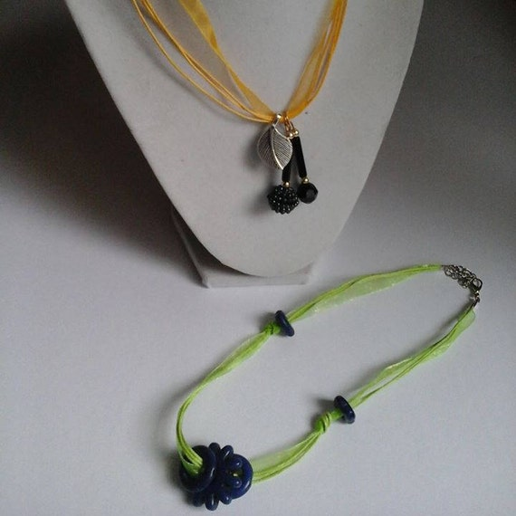 Ribbon Chokers with Beads and Charms, Semi-precious Stones, Multi-strand Ribbon Chokers, Yellow and Green Ribbon Chokers,  Gift for Her