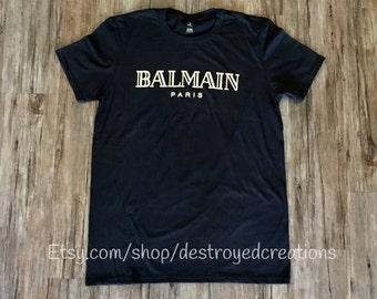 Balmain Paris Black Tee Shirt Gold Foil Balmain Inspired T-Shirt