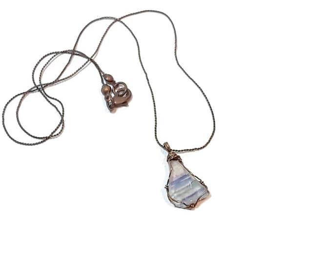 Beach Glass jewelry women - Gift for Wife - Wire Wrap Beach Scene Beach Glass -Lake Michigan - Tiny image of Chicago Skyline