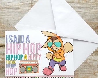 Bunny Easter Card - Funny Bunny Card - Hip Hop Easter - Greeting Cards Easter - Funny Easter Card - Easter Greeting Card - Bunny Card