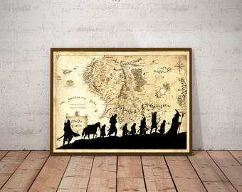 Lord Of The Rings, Valentines Day Gift, Gift For Him, Gift For Boyfriend, Middle Earth Map, Lord Of The Rings Map, Lord Of The Rings Poster