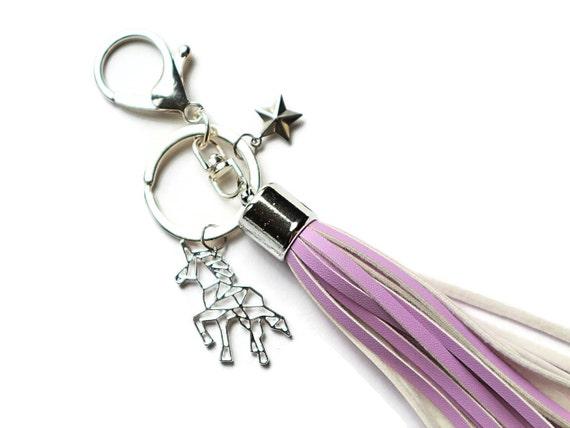 Unicorn Keychain - Unicorn Accessories - Keychain with Clip - Unicorn Gifts - Unicorn Lovers - Tassel Keychain - Whimsical Keychain