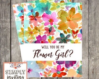 Will You Be My Flower Girl, Card For Flower Girl, Flower Girl Proposal Card, Flower Girl Request Card, Wedding Card Flower Girl, Watercolor