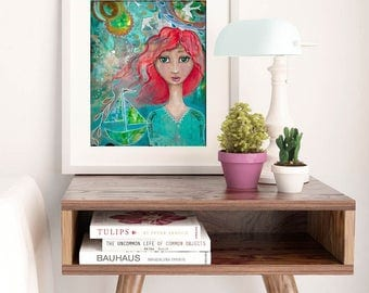 WILD SOUL | Whimsical Folk Art | Whimsical Art | Boho Girl | Girl Room Decor | Colorful Wall Art | Turquoise Art | Wall Art | Art Print