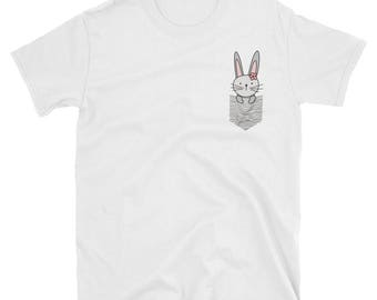 Bunny Gift, Hare Shirt, Funny Baby Hare In A Drawn Pocket Shirt, Animal Lover Gift, Bunny Shirt For Bunny Lover, Pocket Animal Shirt