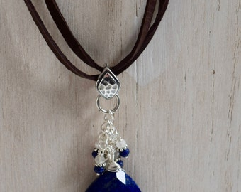 Heart Shaped Lapis Lazuli on Leather Necklace/ Choker Adjustable~ Lapis Lazuli and Moonstone Accented Necklace~