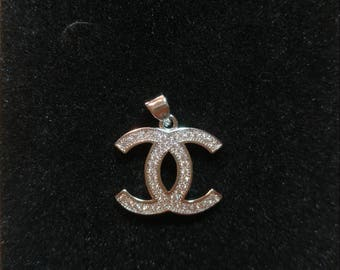 CC necklace pendant, cz, cubic zircon, platinum