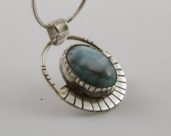sterling silver and aquamarine pendant