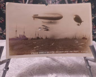 Vintage real photo postcard, Aircraft over Spithead