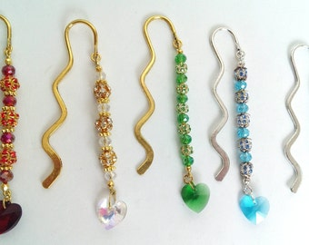 Gold tone Bookmark with coloured beads and a matching heart pendant