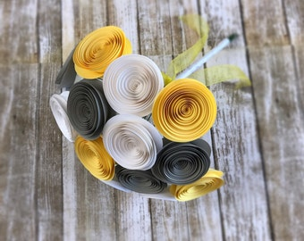 Yellow Paper Flower Bridal Bouquet - Yellow Gray and White Wedding Bouquet - Paper Wedding Bouquet - Rolled Rose Bouquet - Spiral Flowers