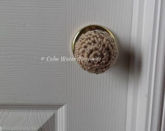6 Crochet Child Proof Door Knob Covers (Buff Fleck)