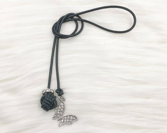 Monkey Fist Knot Leather Bookmark with Dangling Silver Bling Butterfly for your Traveler's Notebook, Planner, or Book
