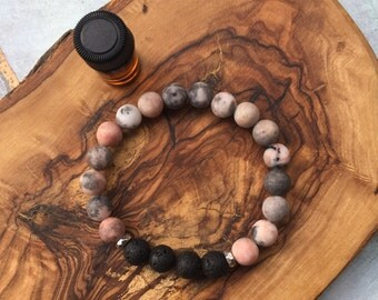 PINK ZEBRA JASPER essential oil bracelet: calming, balance, determination, connection, nurturing energy, soothing, contentment