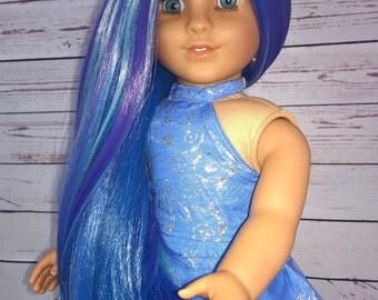 "Custom 10-11"" Doll Wig Fits Most 18"" Dolls, Blythe, 1/4 Sized Dolls and More ""Dusk"" Heat Safe"