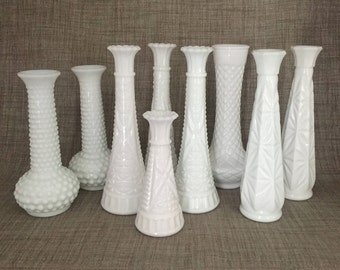 9 Vintage Milk Glass Bud Vases - Wedding or Shower Centerpieces, Collectible