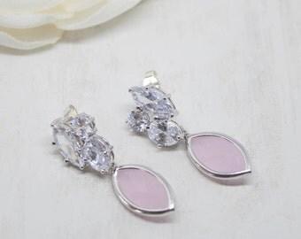 Earrings Silver Pink Bridal jewelry wedding jewelry