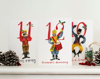 12 Days of Christmas Card Collection // Christmas Card Pack // Watercolour Illustration // Advent