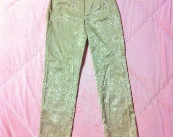 Vintage Gold Pants, Vintage Gold Trousers, Vintage Baroque Print Pants, Baroque Trousers, Vintage Trousers