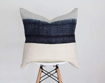 22 x 22 Ombre Blue Hmong Batik Fabric with Cream Mud cloth Pillow Cover, Boho Pillow Cover
