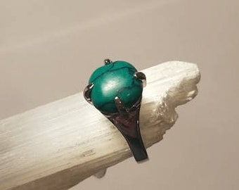Blue Green Natural Stone Silver Ring 5 1/2 statement ring