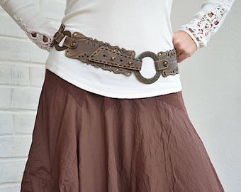 Wide leather belt Womens belt Brown leather belt for women Boho belt Wide belt Hip belt Womens leather belt Plus size belt Vintage looking