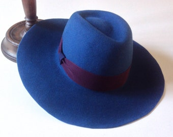 Wide brim hat for ladies. Peacock blue fedora city hats. Winter high fashion lady headpiece. Church elegant accessory