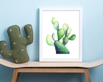 watercolor cactus print, watercolor succulent print, watercolor cactus wall art, watercolor cactus decor, nursery cactus art, succulent